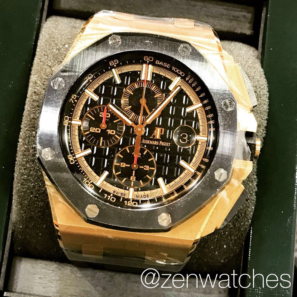 Zenwatches ap royal oak offshore novelty rose gold chronograph 44mm zenwatches for Audemars piguet kinetic