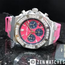 AP Ladies Royal Oak Offshore Pink Chronograph with Diamond Bezel 37mm 1